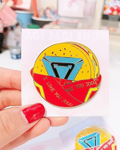Iron Man I love you 3000 cheeseburger enamel pin