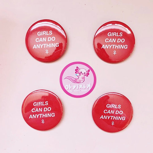Girls Can Do Anything pin back button