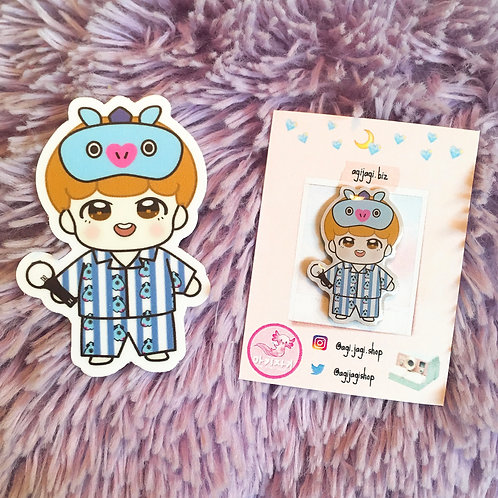 BTS Pajama Party J-Hope x Mang Pin and Sticker Set