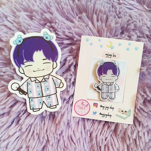 BTS Pajama Party RM x Koya Pin and Sticker Set