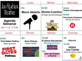 Agenda Semanal La Rubia Teatre del 11 al 17 de febrero