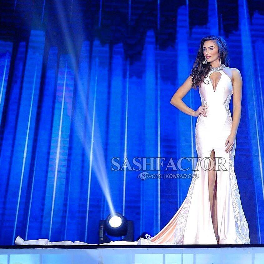 Corrin in Mac Duggal at Miss Earth
