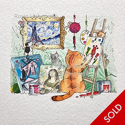 Ginger da Vinci. Ginger and Friends. Gifts for cat lovers. Rosie Lieberman Fine Arts.