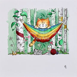 Lazy Days. Ginger and Friends. Gifts for cat lovers. Rosie Lieberman Fine Arts.