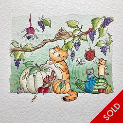 Autumn Antics. Ginger and Friends. Gifts for cat lovers. Rosie Lieberman Fine Arts.