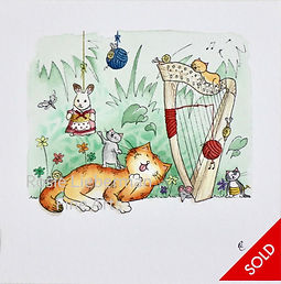 Harp Heaven. Ginger and Friends. Gifts for cat lovers. Rosie Lieberman Fine Arts.
