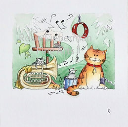 Music Lesson. Ginger and Friends. Gifts for cat lovers. Rosie Lieberman Fine Arts.