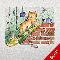 Tea Break. Ginger and Friends. Gifts for cat lovers. Rosie Lieberman Fine Arts.