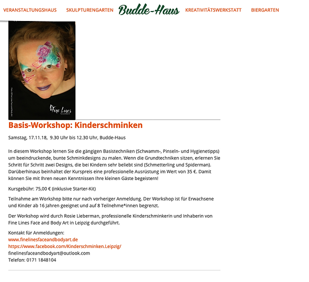 Kinderschminkworkshop in Leipzig