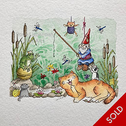Fairytale Frog. Ginger and Friends. Gifts for cat lovers. Rosie Lieberman Fine Arts.