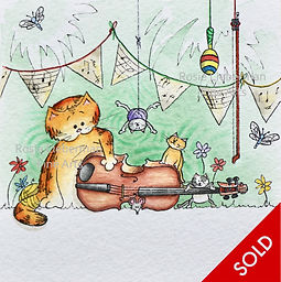 Fiddle Fun. Ginger and Friends. Gifts for cat lovers. Rosie Lieberman Fine Arts.