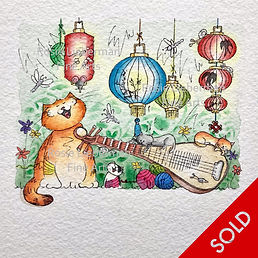 Cat Chorus. Ginger and Friends. Gifts for cat lovers. Rosie Lieberman Fine Arts.