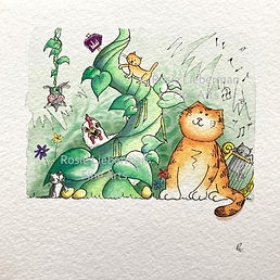 Ginger and the Beanstalk. Ginger and Friends. Gifts for cat lovers. Rosie Lieberman Fine Arts.