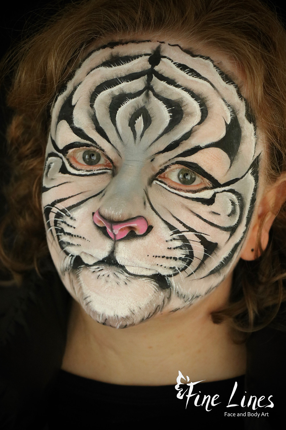 Realistic White Tiger face painting