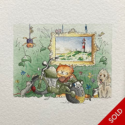 Ginger and Friends at the Ostsee. Ginger and Friends. Gifts for cat lovers. Rosie Lieberman Fine Arts.