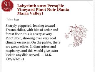 91 Pts - 2012 Labyrinth Pinot Noir - Presqu'ile Vineyard