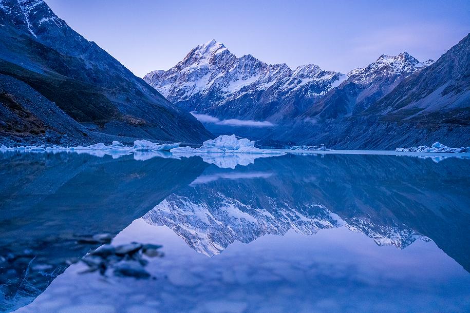 Mount Cook hooker valley icebergs