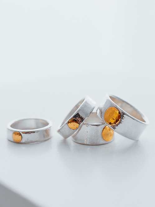 Gold Spot on Pure Silver Ring – Patina