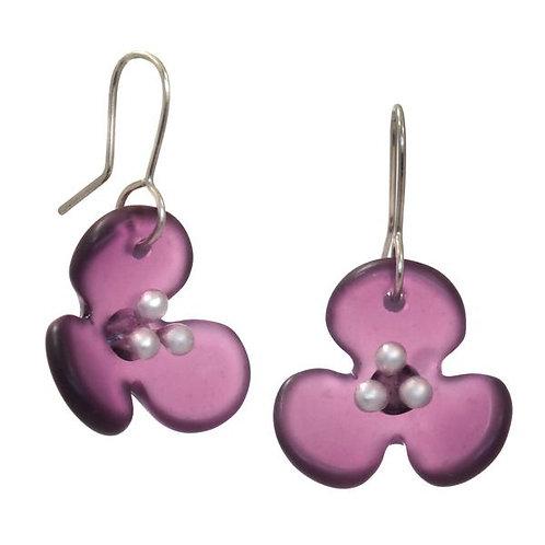 Hydrangea Flower Recycled Glass Earrings – Stone Arrow