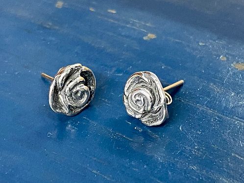 Rose Studs, Silver – Patina