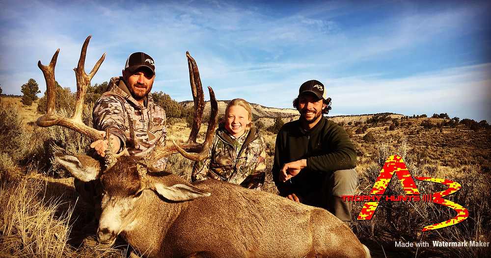-New Mexico has some excellent youth hunting opportunities, as you can see by the smile on this young ladies face!  She may have some work ahead of her to do better then her first mule deer, guided by Jordan Hall and Ryan Nogosek.