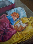 Wax pastel drawing of a young man with orange hair sleeping next to an orange tabby cat