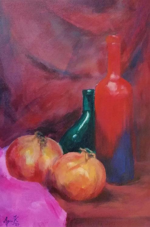 Asetelma Punainen pullo