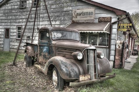 OLD TRUCK AND GARAGE