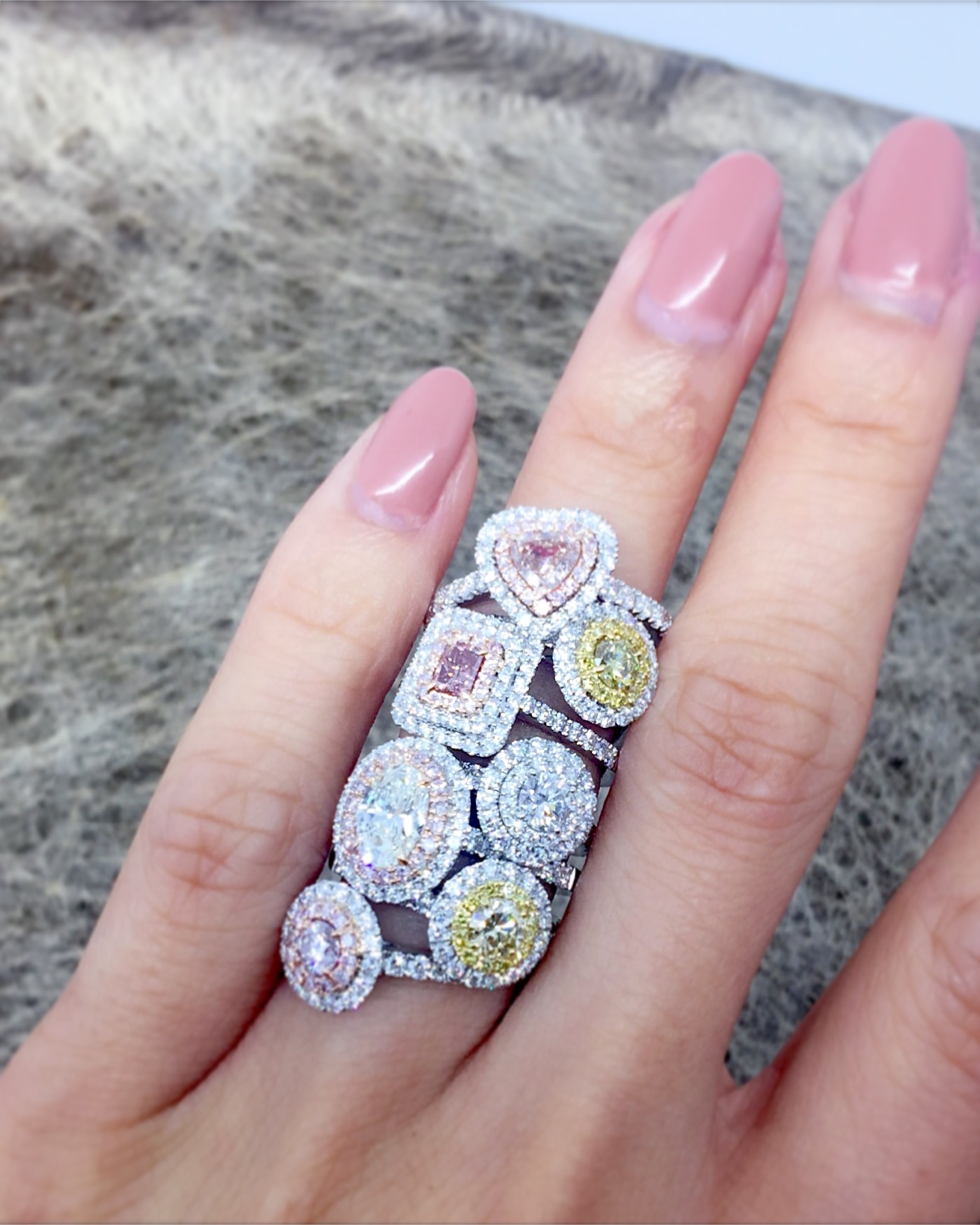 Fancy coloured diamond rings