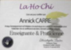 Certifcat La Ho Chi enseignant praticien