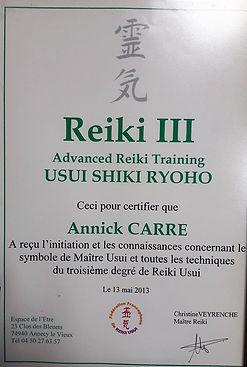 Certificat Reiki niveau 3