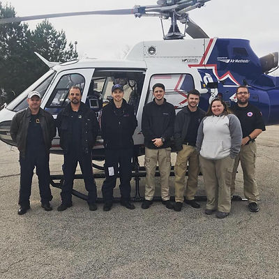 EMS Students with AirLife Helicopter