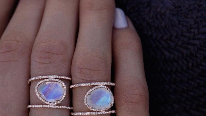14K Rose Gold Plated Moonstone Rings