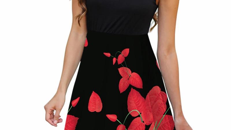 Summer Women Sleeveless Dress Casual Floral Printed