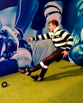 Rugby levitating statue