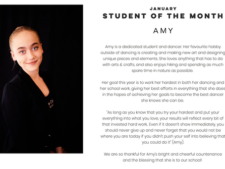 Amy: January Student of the Month