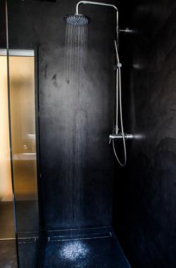 black concrete bathroom