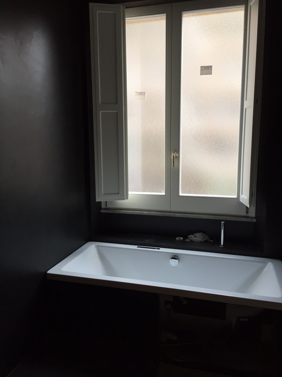 black concrete bathroom