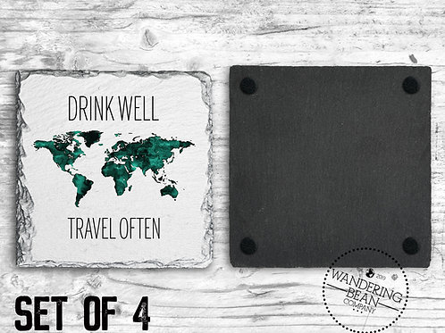 Drink Well, Travel Often Coaster
