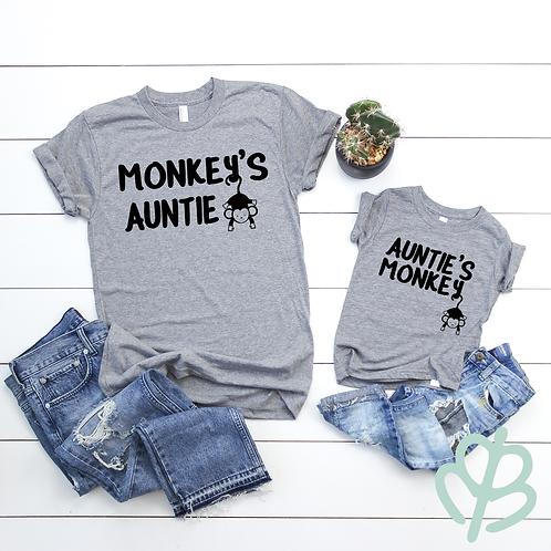 Auntie's Monkey and Monkey's Auntie shirts