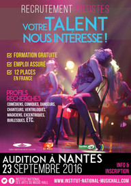 Audition à NANTES : 23 septembre 2016