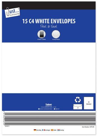 Just Stationery 15pk C4 White Peel And Seal Envelopes
