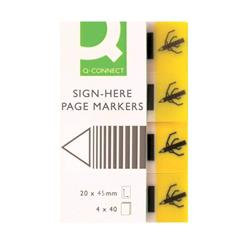 Q-Connect Quick Signature Markers 20 x 45mm Yellow (Pack of 160)