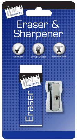 Just Stationery Eraser And Sharpener Set