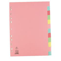 Manilla A4 Divider 12-Part Pink With Multi-Colour Tabs