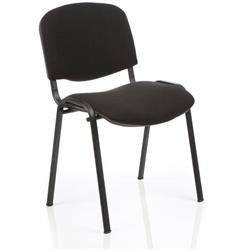 Club Chair Stackable Black Fabric -Black Frame