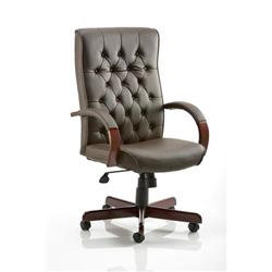 Chesterfield Executive Chair Brown Bonded Leather With Arms