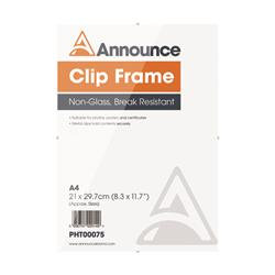 Announce Metal Clip Frame A4 Clear