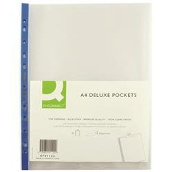 Q-Connect Delux Punched Pocket Top Opening Blue Strip A4 Clear (Pack of 25)
