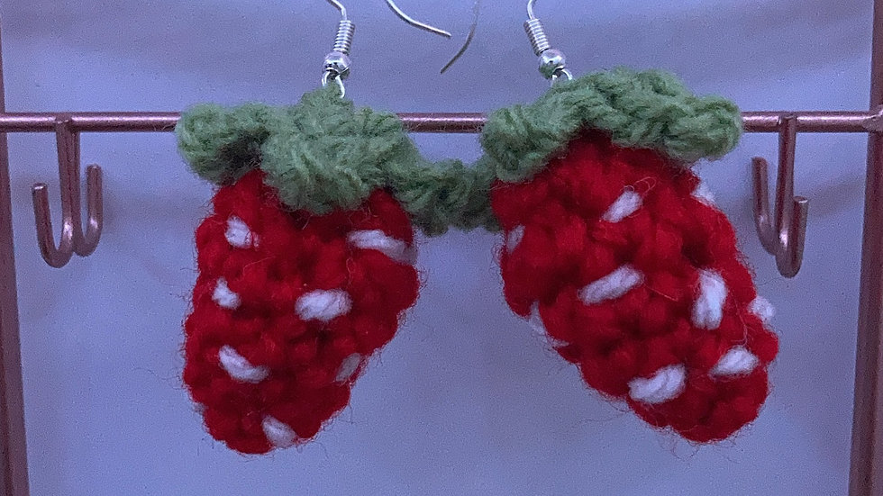 Crochet Strawberry Earrings